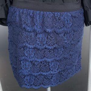 Banana republic blue scalloped lace skirt